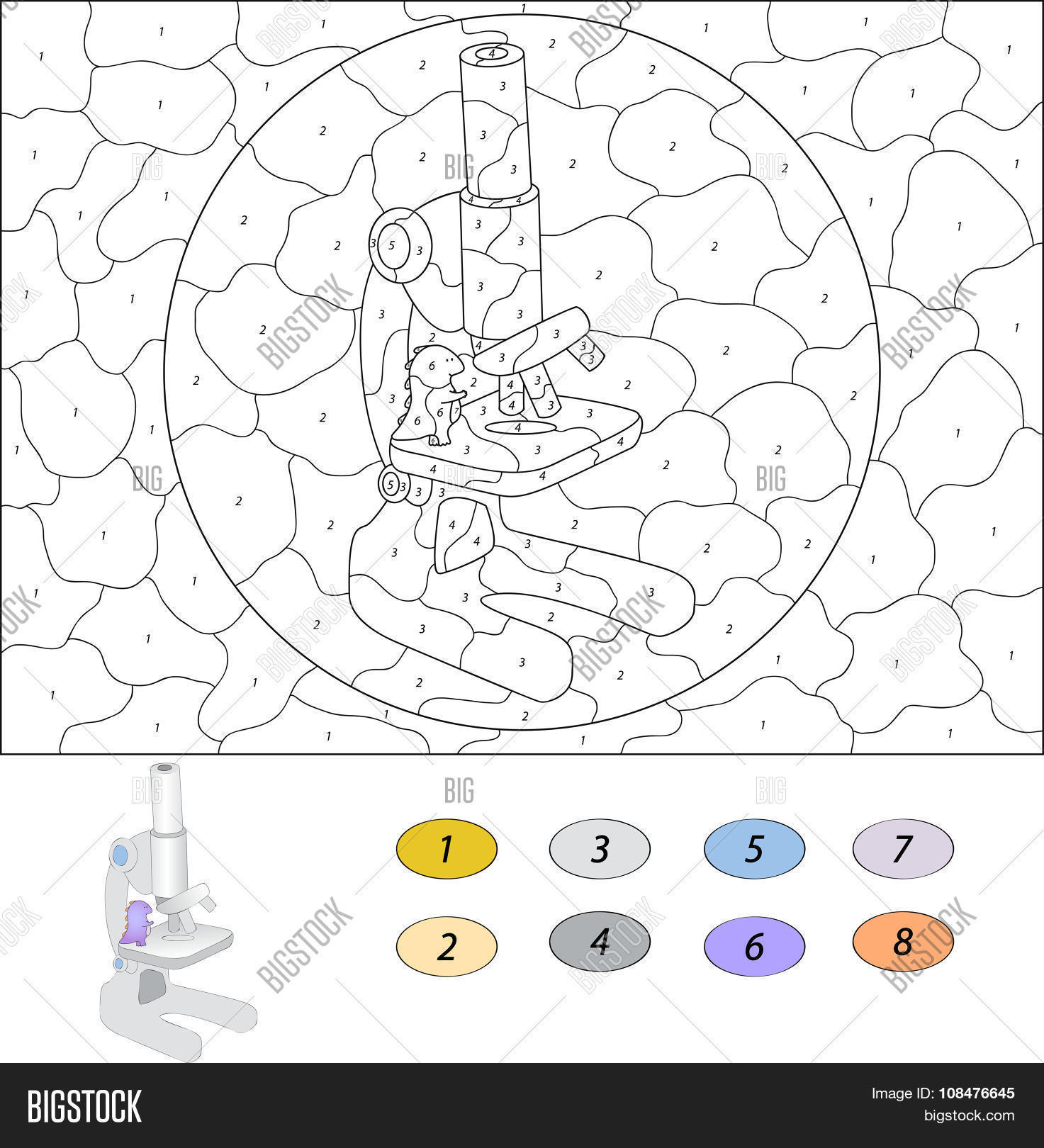Game color by numbers - Color By Number Educational Game For Kids Funny Cartoon Dragon Considering The Microscope Vector