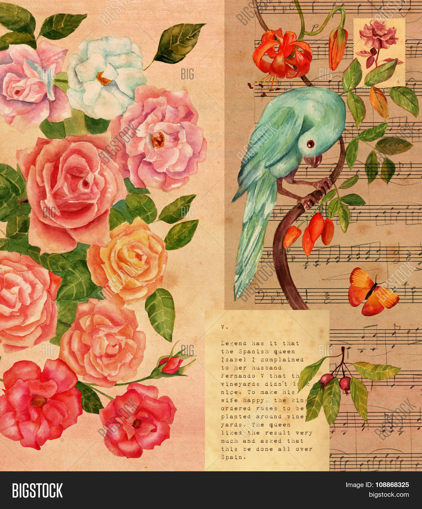 Vintage Collage With Sheet Music, Watercolor Roses