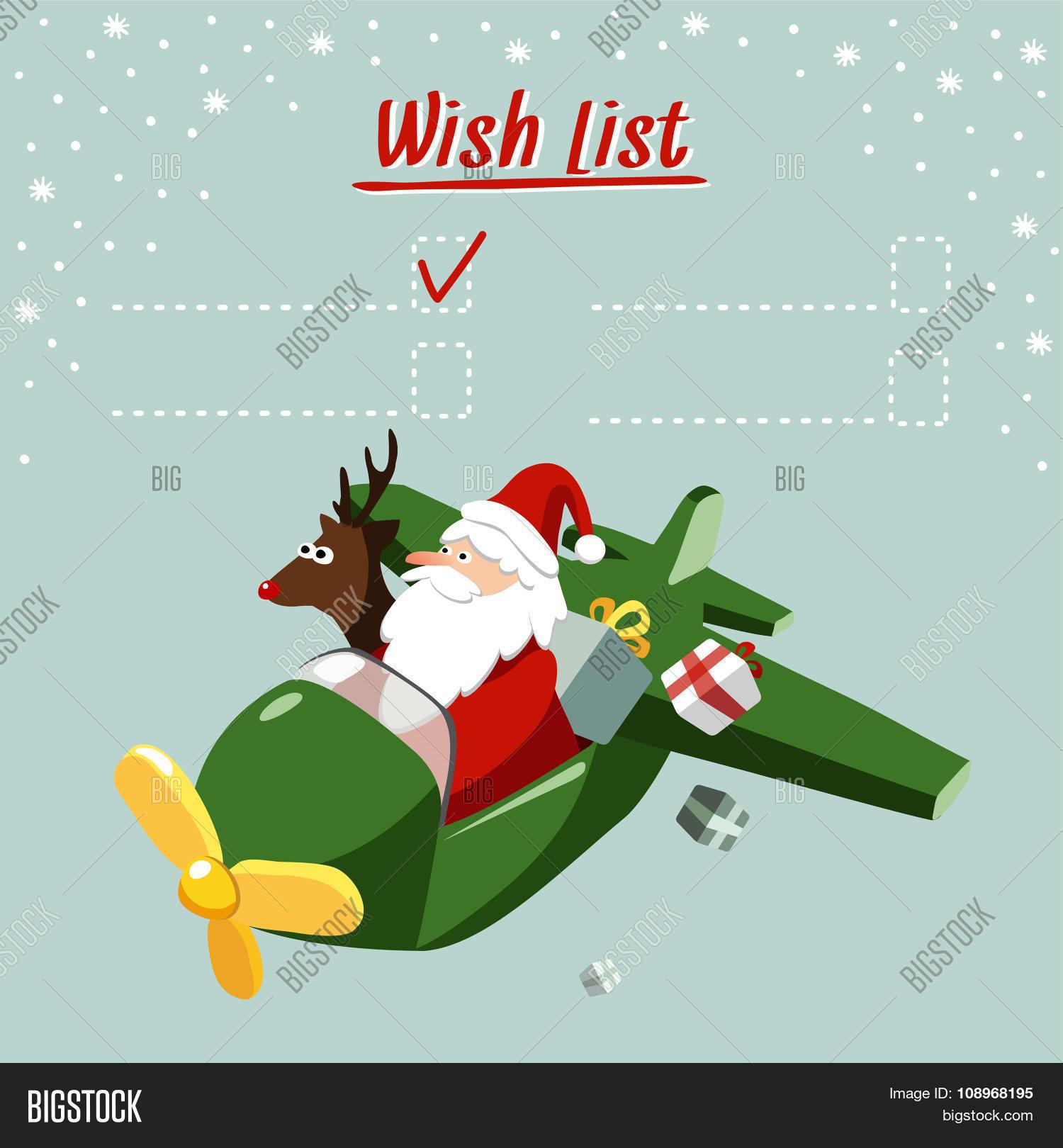 Cute Christmas Card, Wish List Vector & Photo | Bigstock