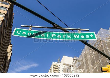 Street Sign Suspended Above Central Park West In New York City