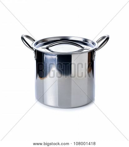 Stainless Steel Pot With Lid On White Background