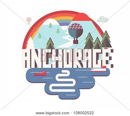 Anchorage beautiful city to visit. vector cartoon