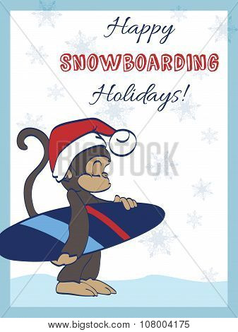 Vector Happy Snowboarding Holidays Snowboarder Monkey Greeting Card Design