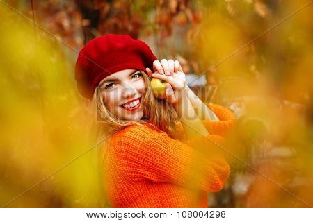 Lovely Girl In Beret And Sweater, Holding Ripe Apple And Smiling.