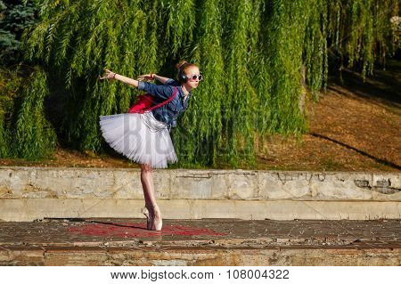 Ballerina Hipster Dancing On The Street.