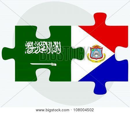 Saudi Arabia And Sint Maarten Flags