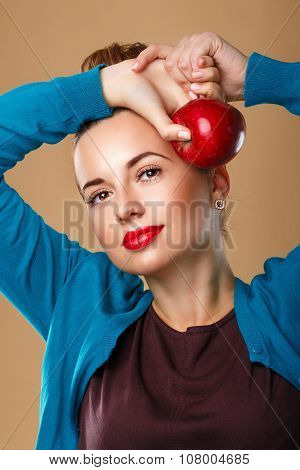 Girl With Clean Skin Holding Red Ripe Apple.