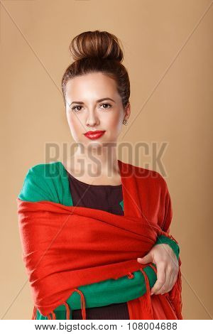Girl Wrapped In A Shawl.