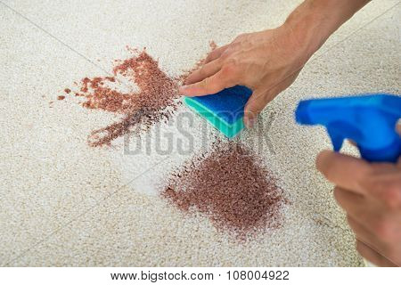 Man Cleaning Stain On Carpet With Sponge