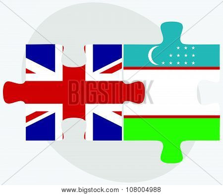 United Kingdom And Uzbekistan Flags
