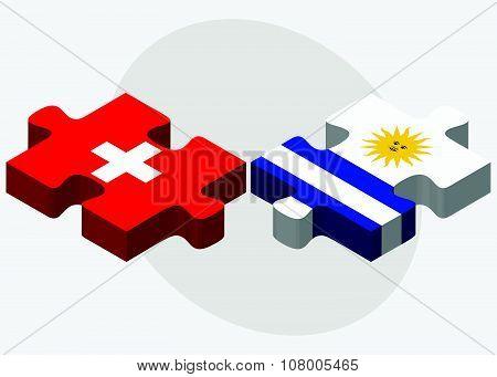 Switzerland And Uruguay Flags