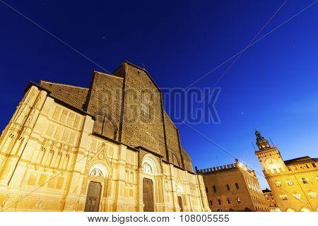 San Petronio Basilica On Piazza Maggiore In Bologna