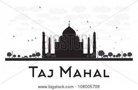 Taj Mahal skyline black and white silhouette. Simple flat concept for tourism presentation, banner, placard or web site. Business travel concept. Cityscape with famous landmark