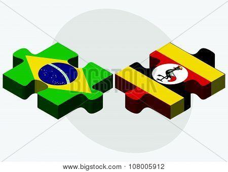 Brazil And Uganda Flags