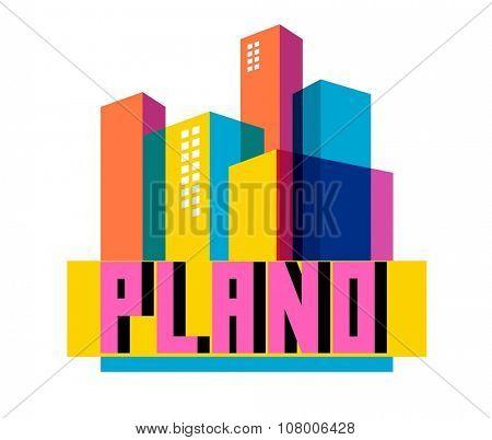 Plano Texas beautiful city to visit. vector cartoon