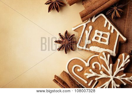 Christmas frame for greeting card with decorative christmas gingerbread cookies