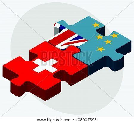 Switzerland And Tuvalu Flags