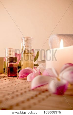 Aromatherapy Essential Oil, Natural Soap And Lilac Flower