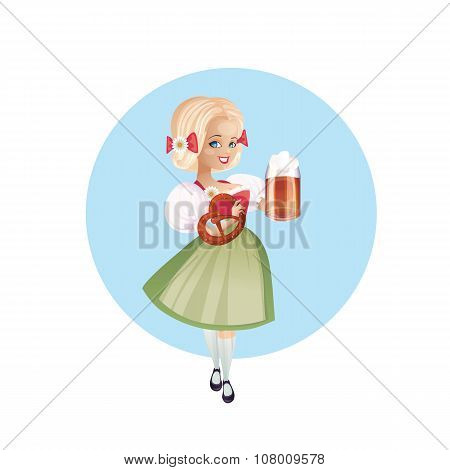 Attractive woman in dirndl with beers