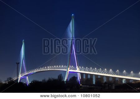 Normandy Bridge (pont De Normandie, France) At Night