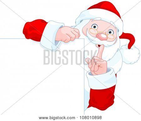 Illustration of cute Santa Claus holding sign