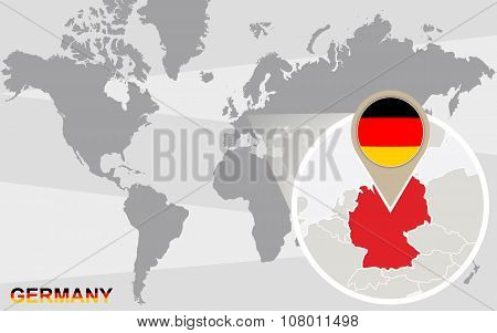 World Map With Magnified Germany