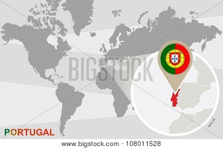 World Map With Magnified Portugal
