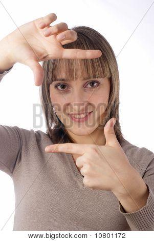 Mädchen Showng frame