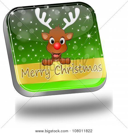 Reindeer wishing Merry Christmas Button