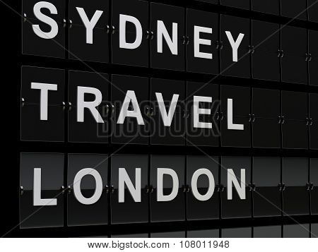 3D Airport Board. Travel Or Tourism Concept.