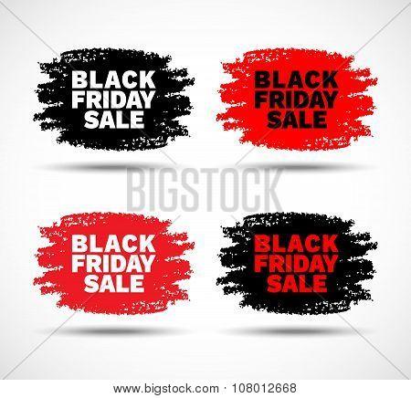 Set of Black Friday Sale hand drawn grunge stains