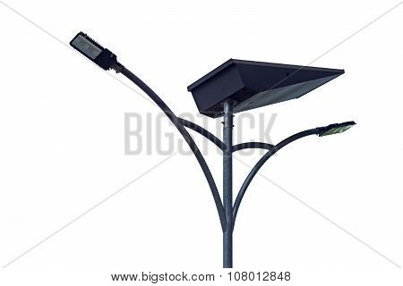 Led Light Post With Solar Cell Panel  Isolated On White