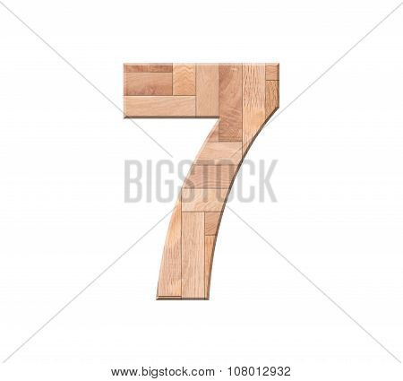 Wooden Parquet Of Digit One Symbol - 7. Isolated On White Background