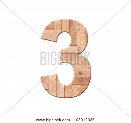 Wooden Parquet Of Digit One Symbol - 3. Isolated On White Background