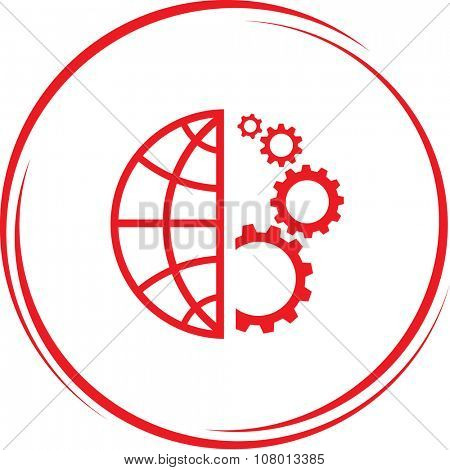 globe and gears. Internet button. Raster icon.