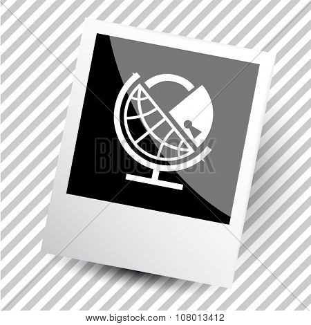 globe and lock. Photoframe. Raster icon.