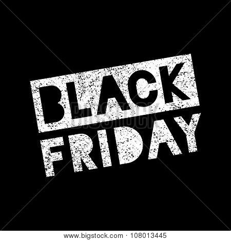 Black Friday sale scribble grunge white stamp on black background