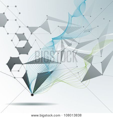 Illustration Abstract Molecules and 3D Mesh with Circles Lines Polygon shapes