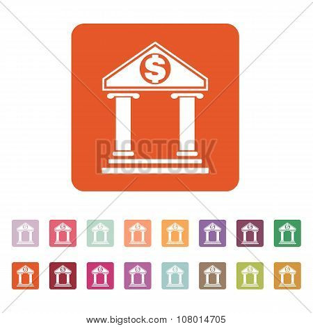 The bank icon. Banking and finance symbol. Flat