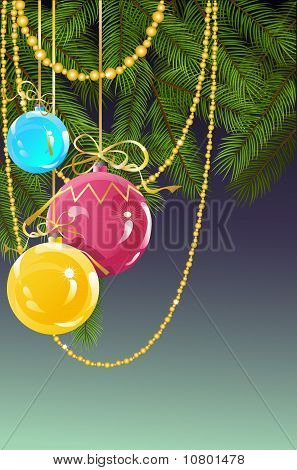 Christmas and New Year's background with ball
