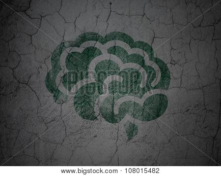 Science concept: Brain on grunge wall background