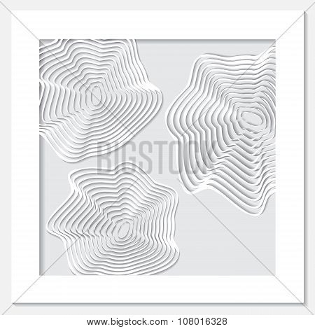 Stock Vector White Frame With Wave And Shadow On The Grey Background.