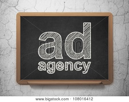 Advertising concept: Ad Agency on chalkboard background