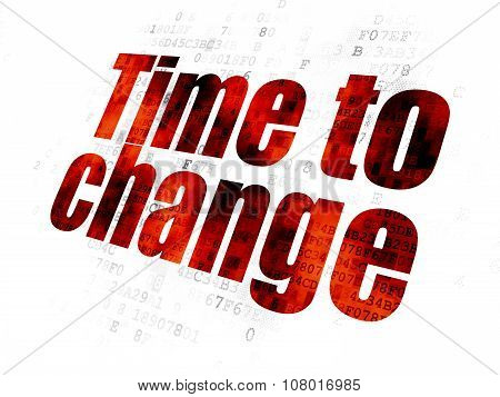 Timeline concept: Time to Change on Digital background