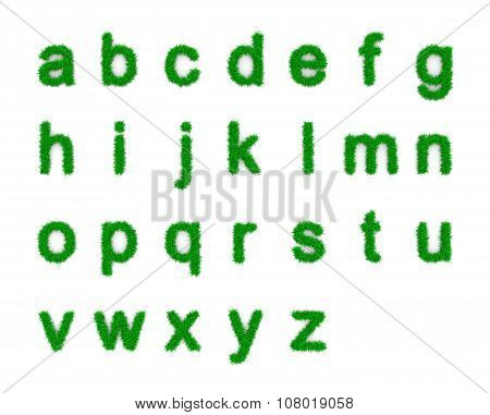 Grass Alphabet Small Letters Shapes