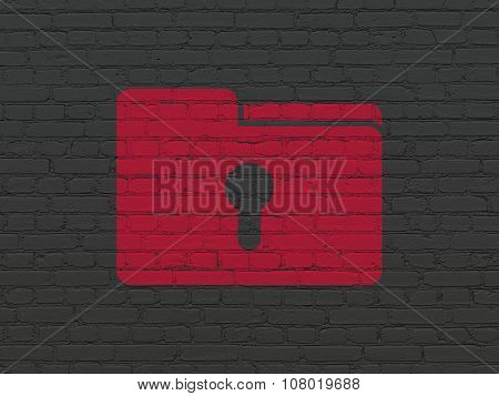Finance concept: Folder With Keyhole on wall background