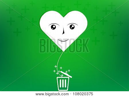 Vector Heart Smile Balloon Plus Trash