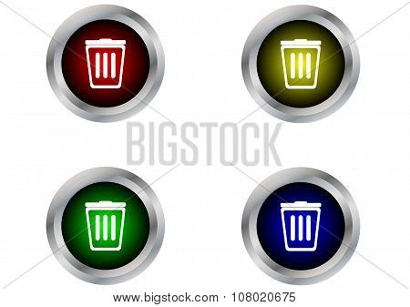 Bin Button Label Isolated.illustration vector