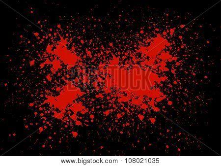 Abstract Blood Splatter On Black Color