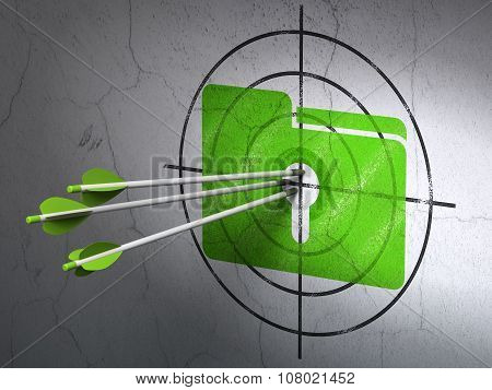 Business concept: arrows in Folder With Keyhole target on wall background